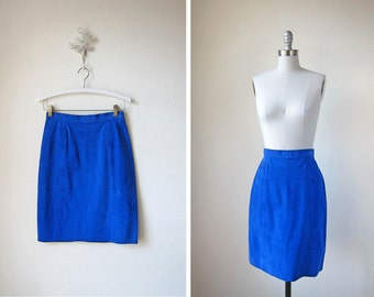 Vintage Cobalt Skirt/ 80s Suede/ Blue Suede SKirt