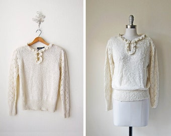 1980s Cream Sweater/ Pointelle/ Nub Knit