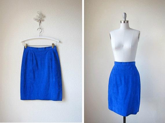 vintage cobalt skirt 80s suede blue suede skirt by