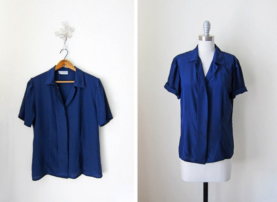 Vintage Blouse/ Navy Blue/ He Said, She Said