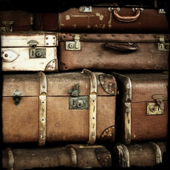 Items similar to vintage suitcases 8x8 inch photograph art - Vintage suitcase ...