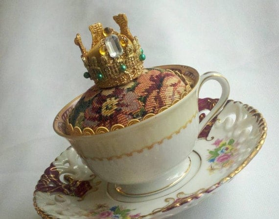Teacup Pincushion Fit for a Queen, Great Gift for Mom