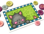 Mini Original Art Card Framed Cat ACEO