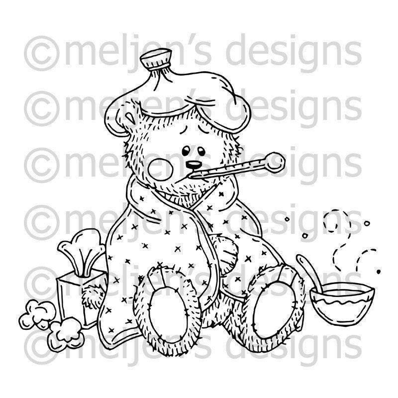 Digital stamp sick little bear for Sick coloring pages