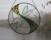 Stained Glass Dragonfly Swish Panel