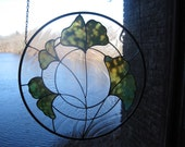 Stained Glass Round Gingko Leaf Panel
