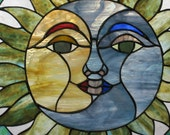 Stained Glass Sun and Moon Face