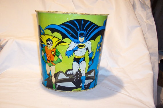 RESERVED for MONSTERPARTY  Batman and Robin 1966 trash can from Cheinco