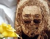 Jerry Garcia pyrography art portrait