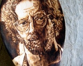 Eric Clapton spoon -pyrography art portrait