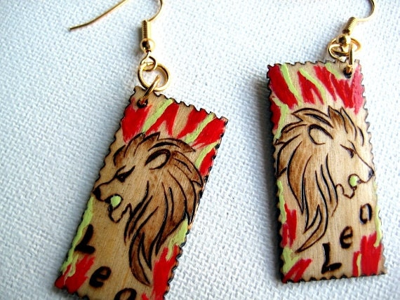Leo Zodiac Earrings -The Signs of the Zodiac mixed media colored pyrography art