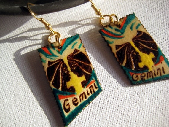 Gemini woodburned earrings -Hand painted mixed media signs of the Zodiac -deep green, orange