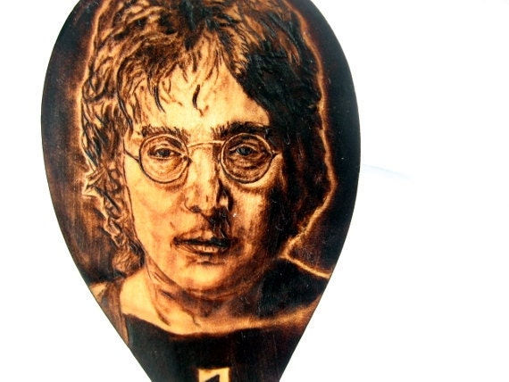 Reserved for Connie -John Lennon spoon -Custom order pyrography art spoon