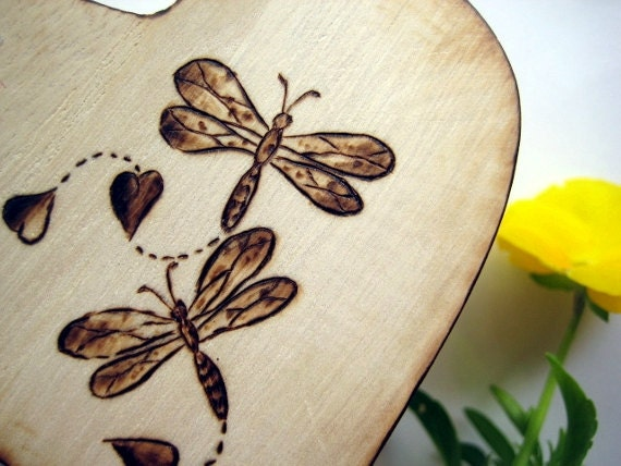 Ring bearer box -Heart of Dragonflies -personalizable woodburning