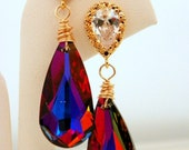 Red and Blue Earrings: Volcano Swarovski Crystal Drop Gold over Sterling Silver Posts Cubic Zirconia Fall Wedding Bridesmaid Jewelry