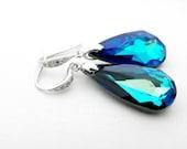 Peacock Blue Earrings: Bermuda Blue Swarovski Drop Crystals on Cubic Zirconia Sterling Silver Hook CZ Bridesmaids Gift by Estylo Jewelry