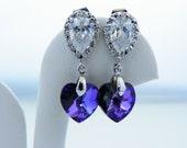 Purple Swarovski Earrings, Crystal Heart Earrings, CZ Post Earrings,  Bridesmaid Earrings, Flower Girls Gift, Violet Plum Earrings.