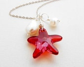 Red Pendant, Swarovski Starfish Necklace, Ivory Pearl, Sterling Silver Wire, Beach Bridal Jewelry, Bridesmaids, Summer Necklace
