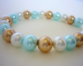 Pastel Pearl Bracelet  - Colorful Pearl Bracelet, White, Sky Blue and Gold Pearls Bracelet, Frog Charm, Beach Jewelry, Bridesmaids Gift