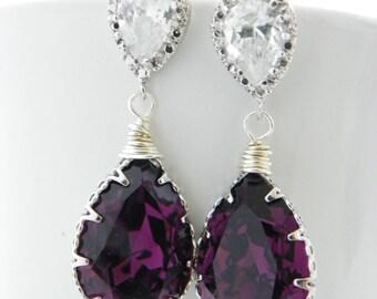 Amethyst Bridesmaids Earrings: Swarovski Crystal Drop, Silver Purple Amethyst Earrings, Sterling Post, Cubic Zirconia, Purple Wedding,