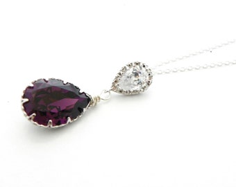 Purple Bridesmaid Necklace Amethyst Swarovski Crystal Pendant Sterling Silver Old Hollywood Glam Jewelry Prom Wedding CZ Pear Teardrop