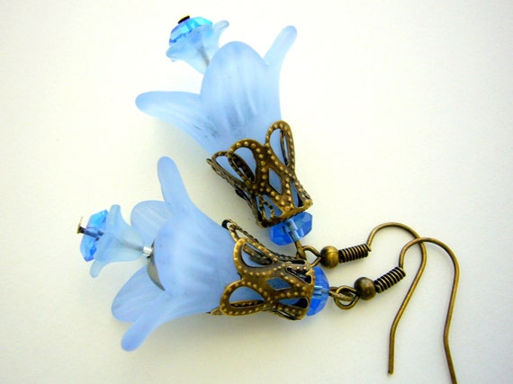 Blue Trumpet Earrings Lucite Flower Earrings Dangle Flower Earrings Grey Pearls Blue Earrings Spring Jewelry