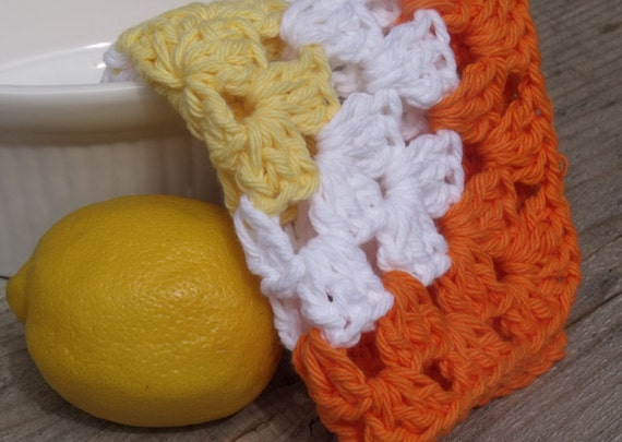 Crochet Dishcloths, Crochet Washcloths - Set of Three Hand Crochet Granny Square Dish Cloths in Orange , Yellow, and White, Sale 75% Off
