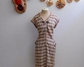 40% OFF SALE- The Peggy- Vintage 1950s 1960s Plaid Cotton Day Dress XL