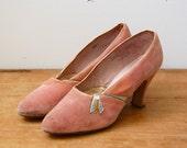 Vintage 1930s Shoes - 30s Pink Velvet Heels - The Annelise