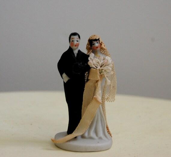 Art Deco Grooms Cake : Antique 1910s 1920s Edwardian Art Deco Flapper Bisque Bride