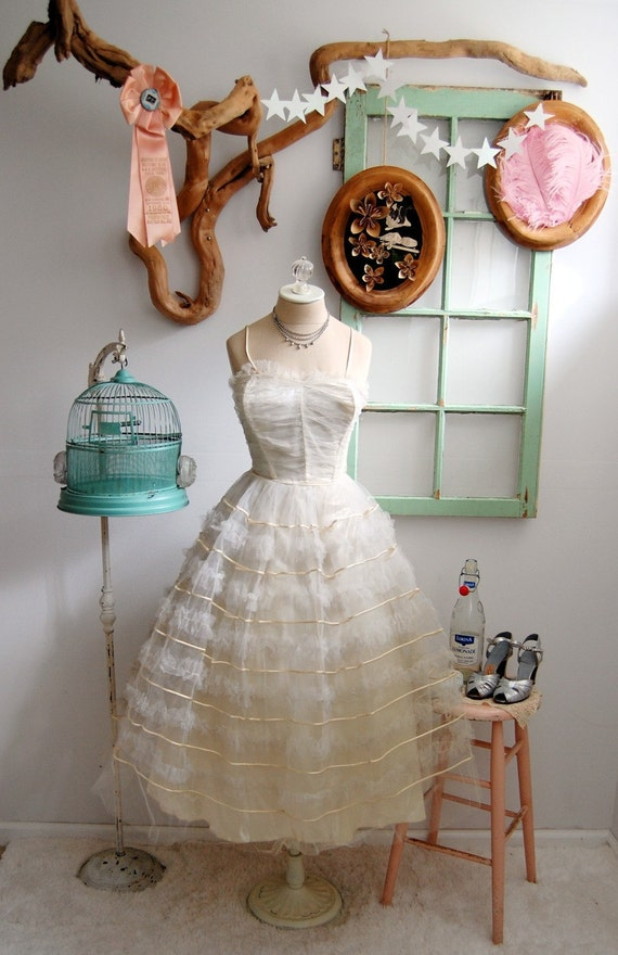 Vintage 1950s Wedding Dress XS/S - The Ingrid