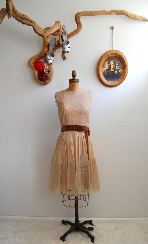 Vintage 1950s 1960s Dress- Lace Cocktail Dress - The Juliette