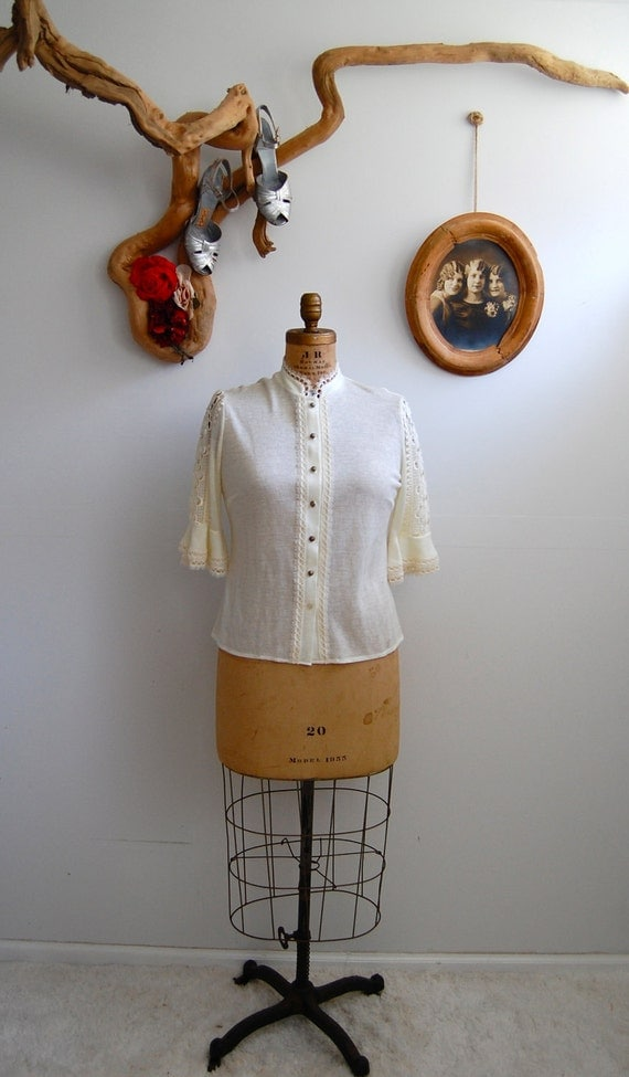 Vintage 1970s Sweater - Cream Crocheted Cardigan - The Helena