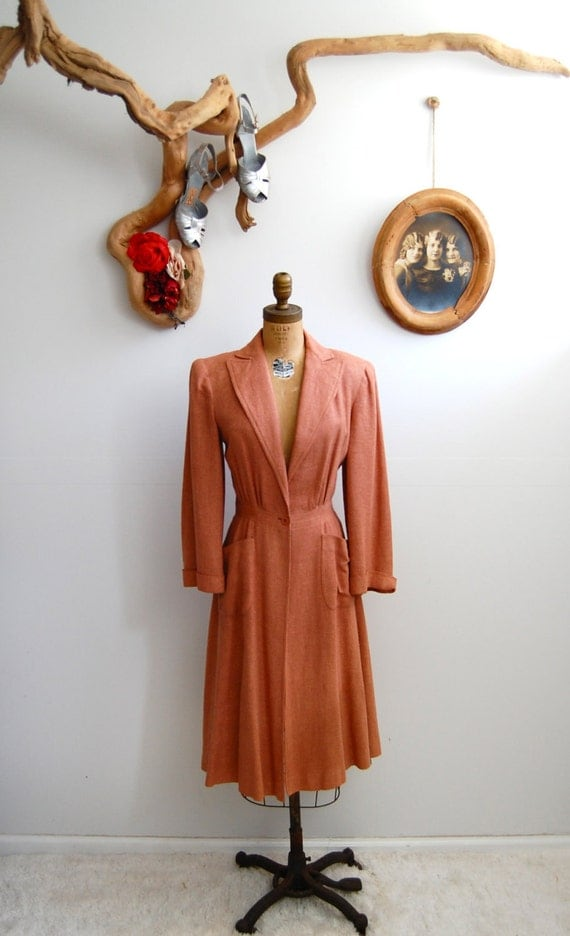 Vintage 1930s Coat - 30s Fitted Lightweight - The Marlene