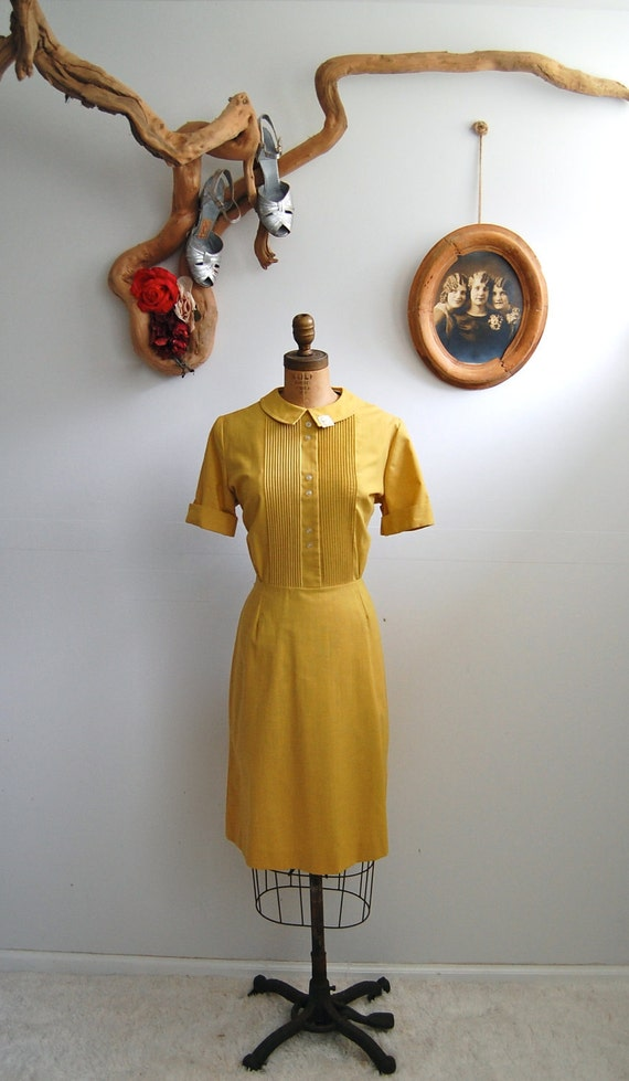 Vintage 1970s Mustard Dress - 70s does 30s - The Babette