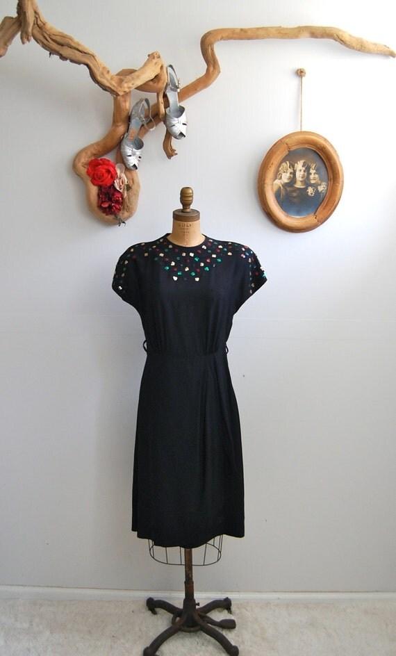 Vintage 1940s Dress - 40s Rayon Dress - The Celestine