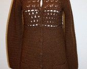 Brown Crochet Sweater Cardigan Button Front Wool and Cashmere lend  Vintage Retro Office Fall