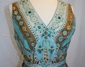Aqua Print Dress Sleeveless Beaded Beautiful Pleating Vintage Retro Hippie Boho Gypsy Beautiful Cotton Size Large