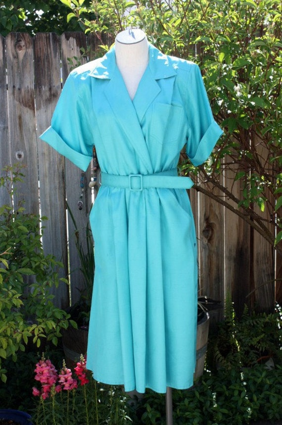 Aqua/Turquoise Dress with Matching Belt Shirt Waist Style Vintage Retro 1980s Office Teacher Indie Hipster