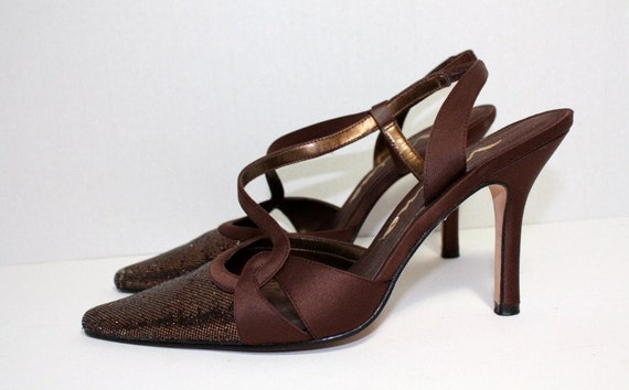 Brown Glittery Shoes Evening Satin Strappy Sexy Pointed Toes By Nina Size 8M Vintage Retro Dancing Party Hollywood Glamor