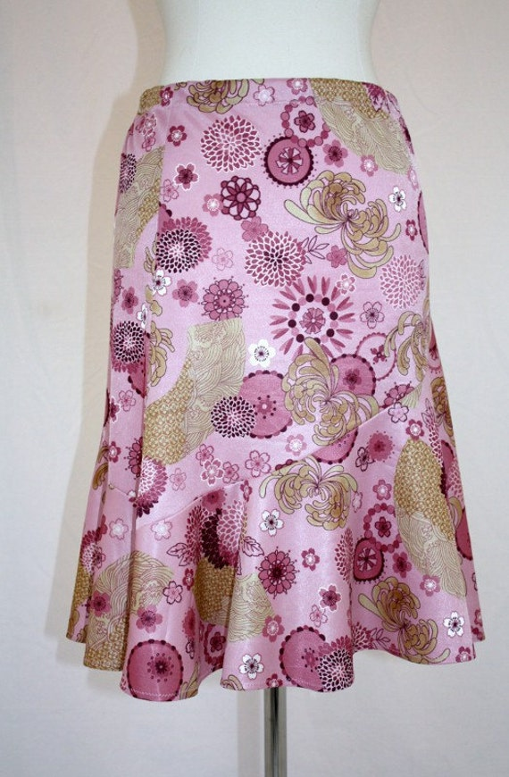 Handmade Pink Skirt Oriental Print Asymetrical Pull On Asian Japanese Hipster Small