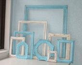 Painted Shabby Chic Frames:  Turquoise and Cream