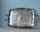 Large Serving Tray Silver Plated with Handles