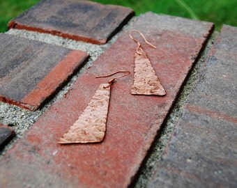 Textured triangle handcrafted copper earrings