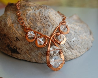 Clear as Crystal, vintage crystal and copper necklace
