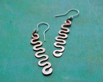 Copper squiggle earrings with sterling earwires