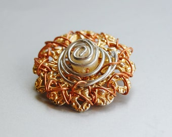 Mixed metal recycled brooch
