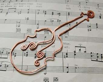 Violin copper bookmark