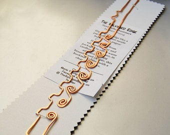 Copper flute bookmark hand made functional sculpture