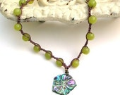 Spring Lime crocheted necklace. Jade, flower, boho chic